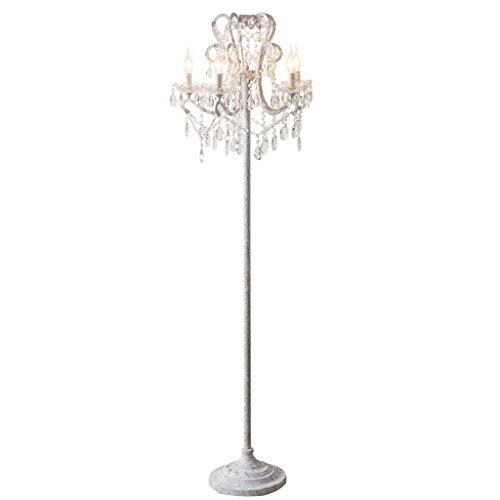 Huishoudelijke Vloerlamp, Vloer Staande Lezen Led, Creatieve Amerikaanse Landelijke Vloerlamp Crystal Woonkamer Vloerlamp Vintage Studie Franse Kaars Lamp IJzeren Vloerlamp 5 Hoofd Oogbescherming Verti
