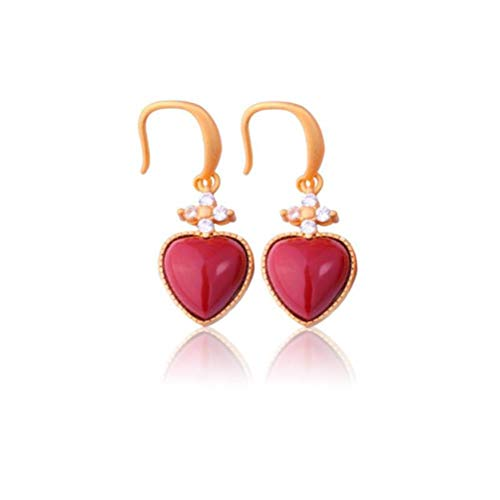 WOZUIMEI Chinese Style Earrings Eardrop Retro Ethnic Style 925 Silver Plated Ancient Gold with South Red Agate Peach Heart Earrings Earring