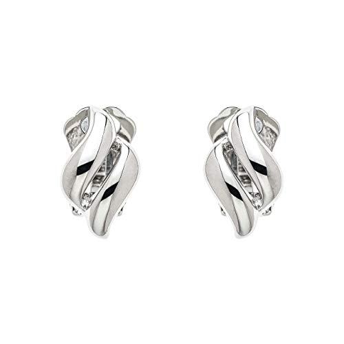 Orecchini a clip a forma di diamante in rodio lucido