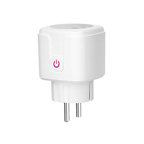 SKTE Enchufe Inteligente 16A Enchufe Inteligente WiFi Inalámbrico Enchufe WiFi Bluetooth Inteligente Y Funciones de Control de Voz con Control Remoto sin Hub Función de Estadísticas de