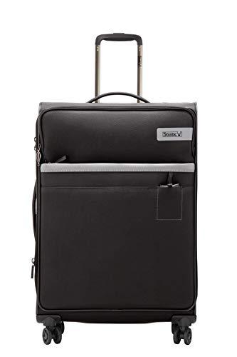 STRATIC Light Koffer weichschale Trolley Rollkoffer Reisekoffer 4 Rollen TSA-Zahlenschloss, erweiterbar, extra leicht, inkl. Einkaufsbeutel, Größe L, Black
