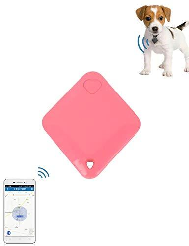 Bestgift GPS-tracker voor honden en katten, Android iOS, portemonnee, GPS-tracker in real-time, 40 * 45 * 7(mm), Rood
