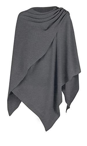 Mikos* Damen Poncho Strick Strickpullover Eleganter Pulli Long Mantel Herbst Winter Viele Farben Eine Größe (991) (Graphite)