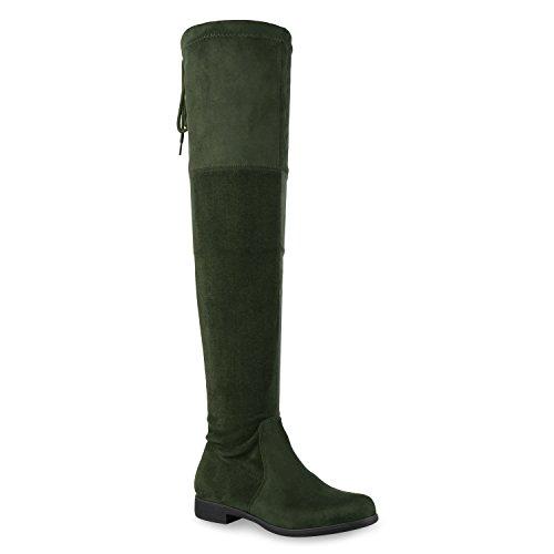 Basic Damen Overknees Schleifen Stiefel Samt Flach Langschaftstiefel Overknee Boots Blockabsatz Schuhe 127319 Dunkelgrün 36 Flandell