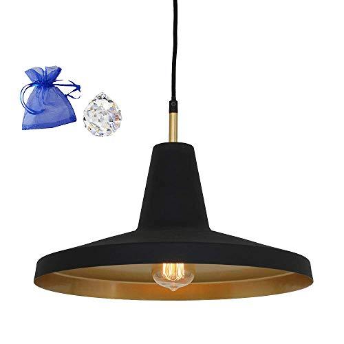 Hängeleuchte Schwarz Gold Matt E27 Industrial Pendelleuchte Vintage Fabrik-Lampen Industrial Design Retro Industrie-Leuchte 1338ZW + Kristall Kugel Give Away