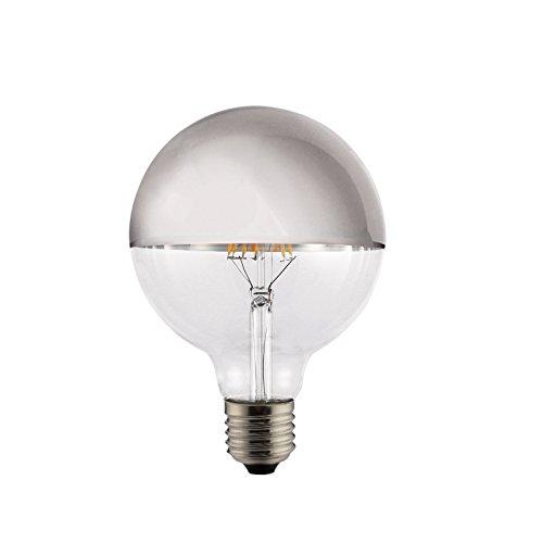 LED Vintage RLED Bombilla LED de Filamento Globo, Luz Cálida E27, 8 W, Plata, 14 x 9 cm