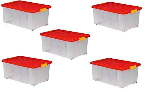 ARTECSIS 5 Boîtes De Rangement Plastique 45L avec Couvercle, 60x40x25 cm, sur roulettes Empilable Gerbable Emboîtable