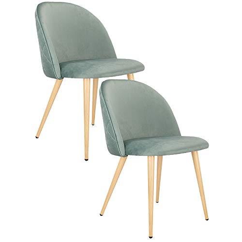 Injoy Life Lot de 2 chaises de salle à manger rétro en tissu velours avec pieds en métal style bois pour la maison, le salon et le bureau Vert
