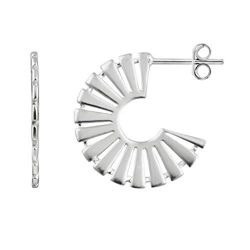Sterling Silver Aztec Stud Hoop Earrings