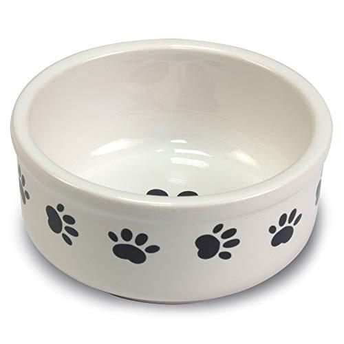 Arquivet Comedero, Bebedero de cerámica para Perro o Gato Estilo Huellas - Recipiente Comida para Mascotas - Plato alimentador de cerámico para Perros y Gatos - Cuenco para Perros y Gatos - 15 cm