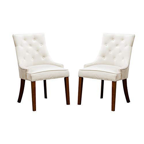 Velvet Dining Chairs Armless Chair with Tufted and Nailheads Accent Side Chairs with Solid Wood Set of 2 (Cream)