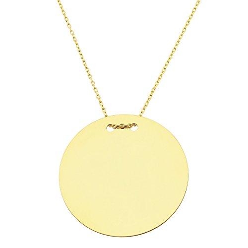 Collier mit Goldplättchen Gravurplatte mit Goldkette, rund 28mm, Kettenlänge: 50cm, 585 Gelbgold