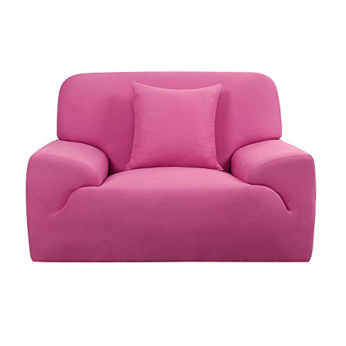 Sourcingmap Stretch Sofa Cover Chair Loveseat Couch Slipcover, Machine Washable, Stylish Furniture Protector with One Cushion Case Fuchsia Small