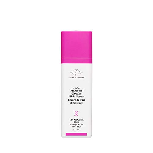 Drunk Elephant T.L.C. Framboos Glycolic Night Serum - Skin Care Brightening Night Serum, 1 Ounce