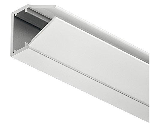 Gedotec Glaskanten-Profil für Glasstärke 4 – 8 mm LED-Aluminium-Profil 2000 mm Profilleisten für LED-Streifen | silber eloxiert | Streuscheibe milchig | 1 Stück - Glas-Beleuchtung für Möbel-Schränke
