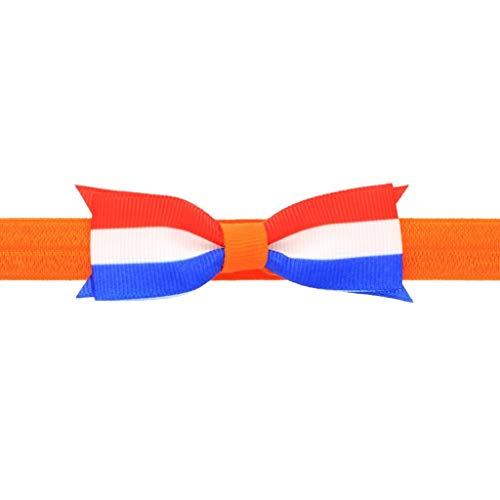 Your Little Miss Baby Haarband Königstag in orange mit rot, weiß und blau | Baby | Elastische Stirnband Kopfband Gummistirnband Niedlicher Haarschmuck Orange
