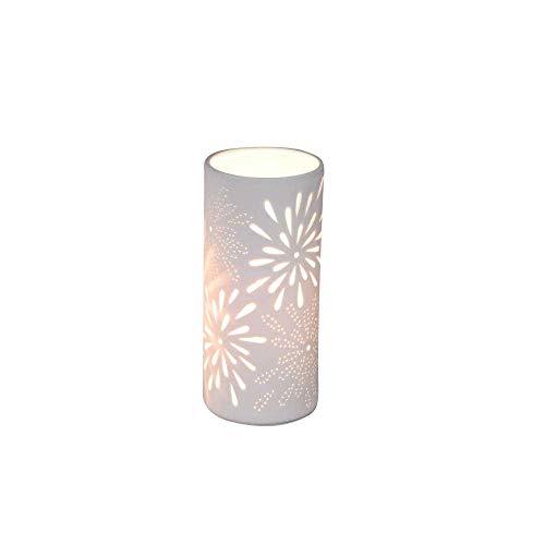Formano Porzellan-Lampe Rund Blume Zylinder Tischleuchte Nachttischlampe Nachttischleuchte Stimmungslampe Weiss 12x24cm