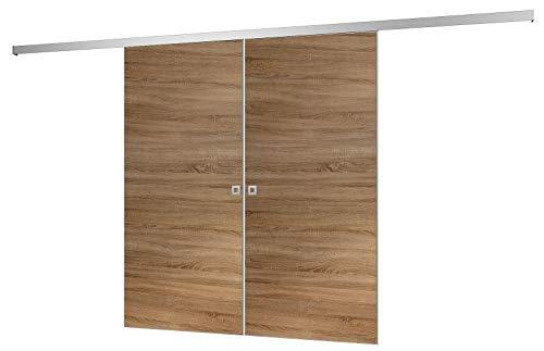 inova Doppel-Tür Holz-Schiebetür 2-Flügelig 1510 x 2035 mm Wildeiche Alu Komplettset mit Lauf-Schiene und Quadrat-Griff