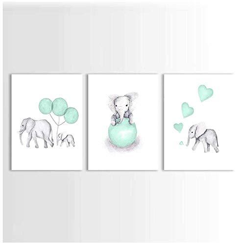 Woplmh olifant kinderkamer bedrukt schilderij op canvas dieren mintgroen ballon hart poster foto's wooncultuur voor kinderen baby kamer 50 x 70 cm x 3 stuks geen lijst