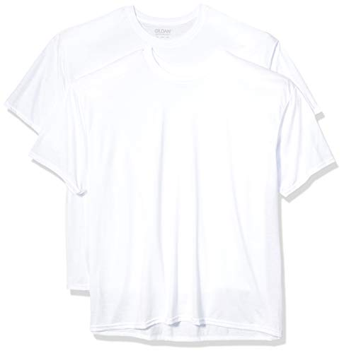 Gildan Men's Moisture Wicking Polyester Performance T-Shirt, 2-Pack, White, Large