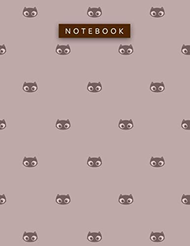 Notebook Rosy Brown Color Small Lovely Cat Face Patterns Cover Lined Journal: A4, Planning, Daily, Hour, To Do List, 8.5 x 11 in