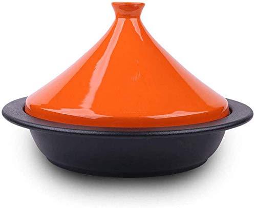 LIUSHI Olla Gruesa para cazuela de cerámica con Base de Hierro Fundido y Tapa de Embudo de gres para Todo Tipo de encimeras Base de 24 cm para 2-4 Personas