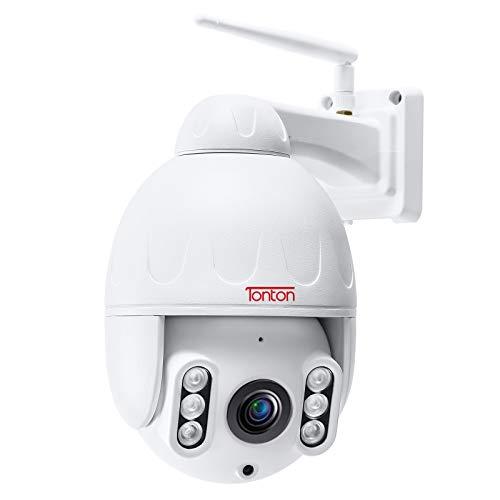 Cámara Domo IP Tonton Full HD 1080P PTZ Zoom óptico ONVIF 5X, cámara de Seguridad WiFi Impermeable al Aire Libre de 2.0 MP con detección de Movimiento, visión Nocturna de hasta 200 pies
