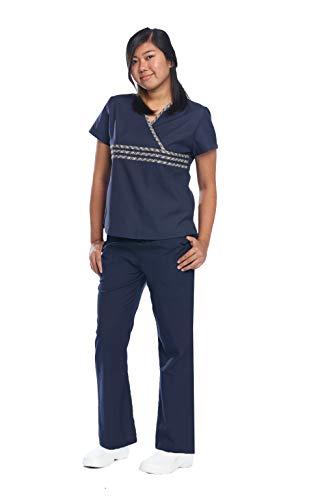 Reina 1704 Y-Neckline Plaid Mock wrap top and Elastic Drawstring Cargo Pants Scrub Set (Navy, M Petite)