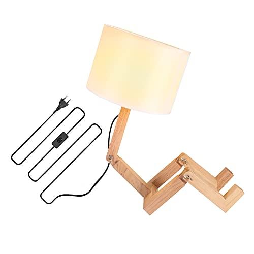 Lampada da tavolo in legno, leggera, in tessuto, di alta qualità, facile da usare, lampada da...