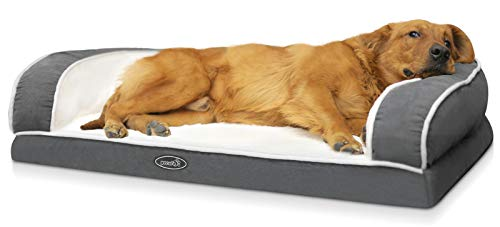 Pecute Orthopedic Dog Sofa Bed (XL 101 * 66 * 20 cm), Egg Crate Memory Foam Pet Couch Beds with 3 Sides Bolster for Good Support, Removable Washable Cover, Non Slip Base, Ideal for Medium Large Dogs