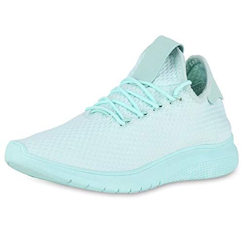 SCARPE VITA Damen Sportschuhe Laufschuhe Profil Turnschuhe Fitness Sneaker 174381 Türkis 37