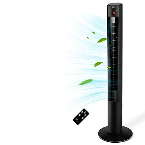 Amzdeal 46 inch Quiet Tower Fan - with LED Display, Remote control, Touch panel, 3 Speeds, 3 Modes, 12H Timer, 60° Oscillating, 45W energy saving, Portable Cooling Stand Floor Fans for Home, Office