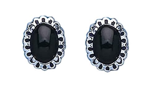Onyx Earrings Silver Stud Sterling Silver Studs Natural Black Onyx