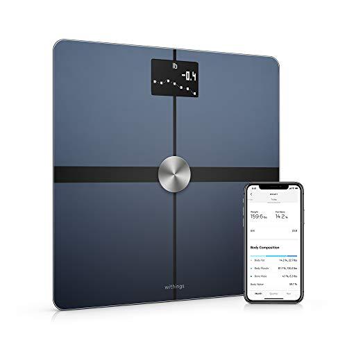Withings Body+ – Bilancia Intelligente con Analisi della Composizione Corporea, Misurazione di IMC, Pesapersone Digitale da Bagno, Sincronizzazione dell\'App tramite Bluetooth o Wi-Fi, Nero