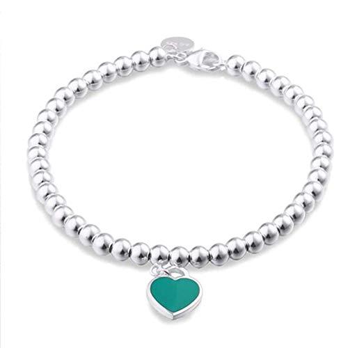 D&XQX 925 Sterling Silber Dangling Heart Charm Bead Armbänder, Charme Blue Pink Red Enamel Finish, Schmuckgeschenk für Frauen und Teen Mädchen,Blau,17cm