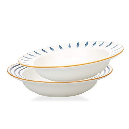MDZF SWEET HOME Rim Soup Bowls Porcelain Dishes Set, Salad Dessert Pasta Bowls 20 Oz, Set of 2