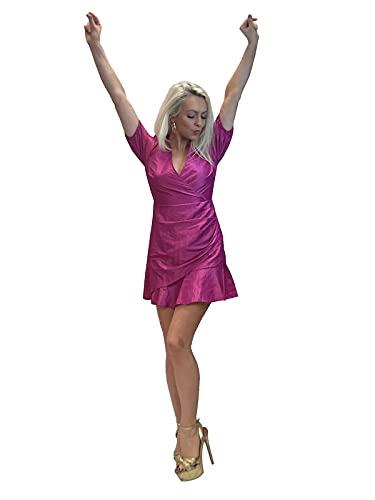 Lashes Vestido De Noche para Mujer con Dobladillo con Volantes Y Mini Rosa Brillante 34-46 (44)