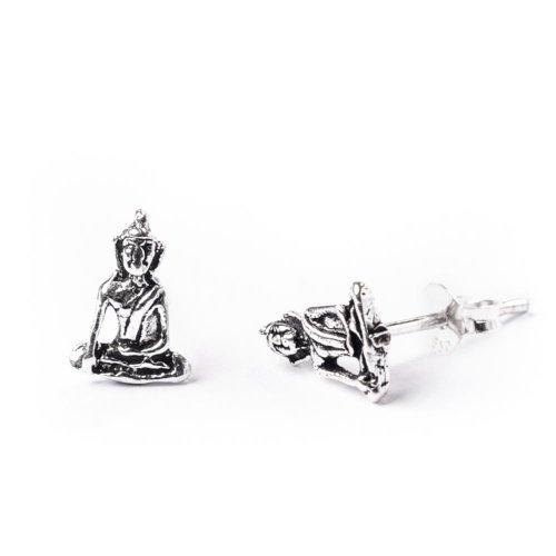 81stgeneration Women's .925 Sterling Silver Buddha Buddhist Meditation Stud Earrings