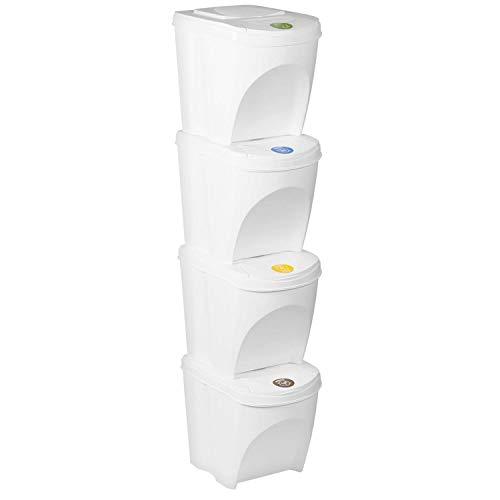 Sortibox 4er Set Mülleimer Abfalleimer Küche (80 Liter 4x25L) Papierkorb Behälter Abfallsammler Mülltrenner Sammler Biomüll Badeimer (Weiß)