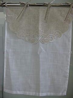 Générique Rideau Brise-bise brodé prêt à Poser_Maurice_Naturel (Blanc, Lin, 45_x_60_cm)