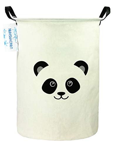 LANGYASHAN Storage Bin,Canvas Fabric Collapsible Organizer Basket for Laundry Hamper,Toy Bins,Gift Baskets, Bedroom, Clothes,Baby Nursery (Panda)
