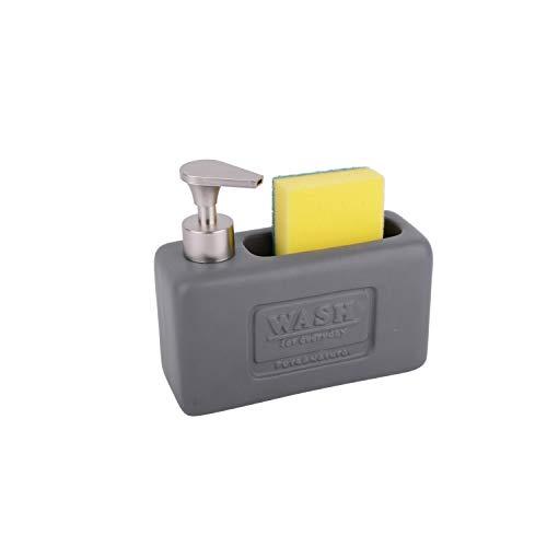 KOOK TIME Dispensador jabon Cocina de cerámica con Hueco Porta estropajos, cerámica en Acabado Mate con decoración Vintage Wash y dosificador en plástico ABS Mate Inoxidable, 18.5x17x7cm.
