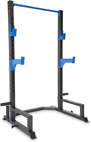 WF Athletic Supply Deluxe Power Cage with High Weight Capacity, J Hooks & Safety Spotter Arms, Olympic Weight Plate Storage and Bar Storage
