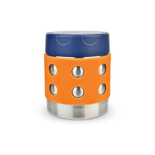 LunchBots Thermal 235 ml Edelstahl Innenraum – Isolierter Nahrungsmittelbehälter hält 6 Stunden lang heiß oder 12 Stunden lang kalt – Auslaufsicherer Suppenbehälter – Dunkelblaue/Orange