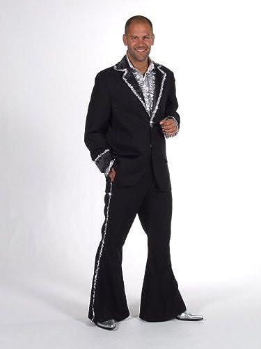 diseño único 70er 80 80 80 traje  Bling  negro plata Talla M disco y fiestas de carnaval  mejor vendido