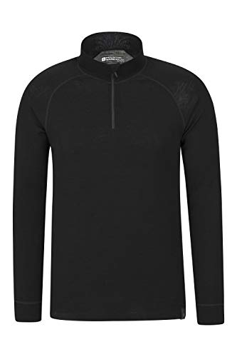 Mountain Warehouse Merino Langarm Baselayer-Thermotop für Herren - Atmungsaktives T-Shirt, Halbreißverschluss, bequemes T-Shirt - Ideal zum Campen Winter Baselayer Schwarz XL
