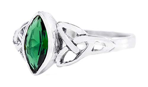 WINDALF Zarter Damen Ring RIGANI 9 mm Keltischer Liebesknoten Grüner Smaragd 925 Sterlingsilber (Silber, 60 (19.1))