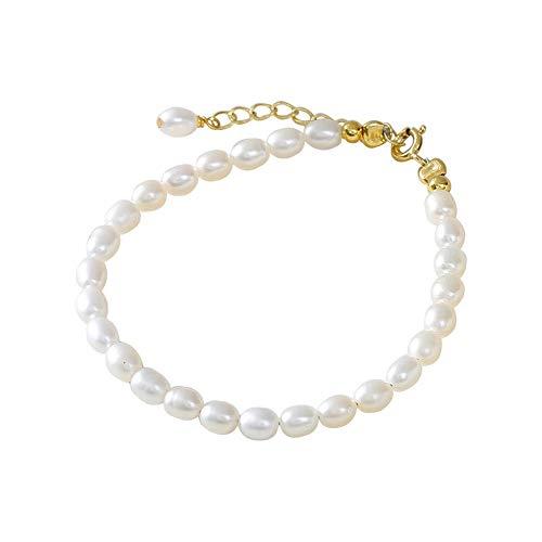 Yaunli Pulsera magnética de Las Mujeres Simple Brazalete de Perlas de Pulsera for Mujer Desgaste Diario diseño Elegante Pulsera Pulsera de Cristal (Color : White, Size : 15+4cm)