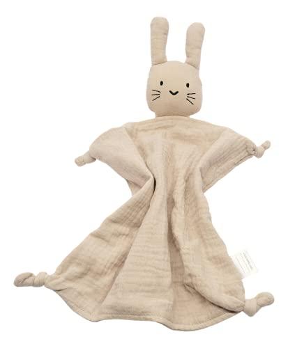 Hinrichsen & Co. Süßes Schnuffeltuch Hase aus Baumwoll Musselin mit praktischer Baumwolltasche (Beige)
