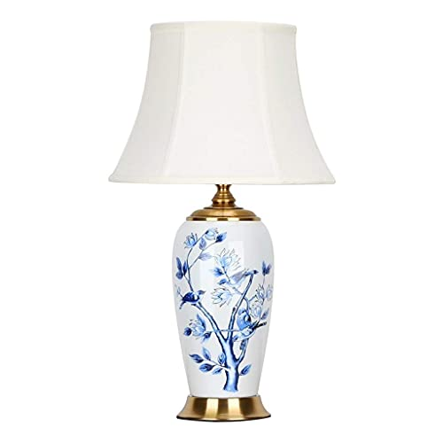 KTDT Lámpara de Mesa, cerámica China, Vintage, Pintado a Mano, Azul y Blanco, lámpara de Noche, Dormitorio, lámpara de Noche, Pantalla de Tela, Base de Hierro,...